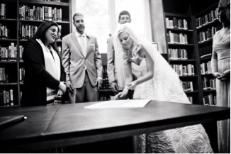 Signing of the Ketubah in Temple Library