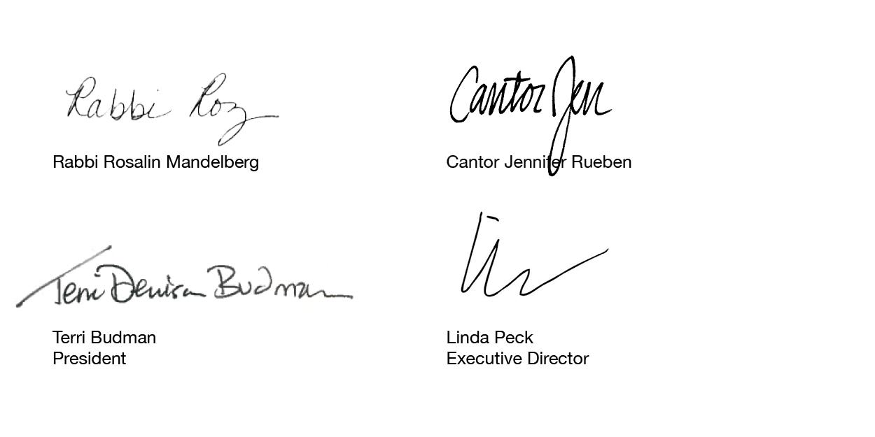 RabbiRoz_CantorJen_TerriBudman_LindaPeck_Signatures