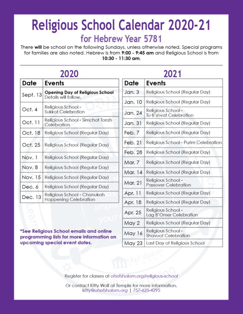 Religious School Calendar_2020-21_update